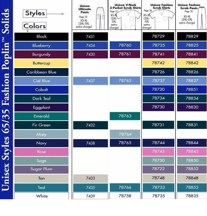 Dickies Scrub Color Chart
